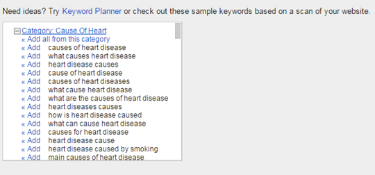 Keyword Suggestions Example