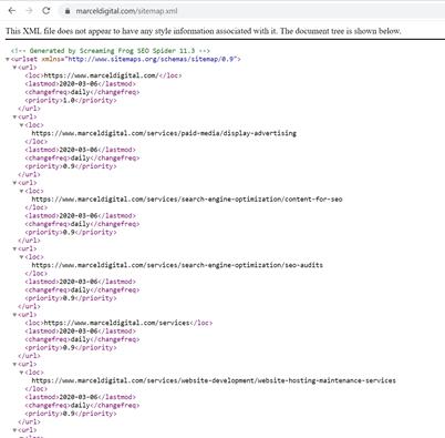 XML del mapa del sitio