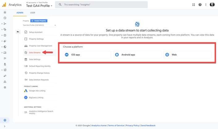 Setup a Data Stream in GA4