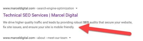 Meta description example in search engine results
