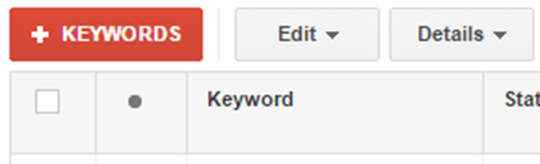 Keywords Button Screenshot